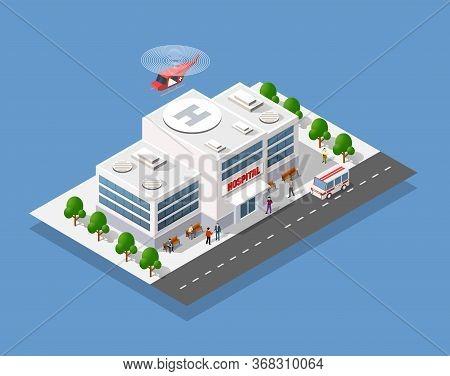 Hospital Isometric 3d Building Hospital Isometric 3d Building