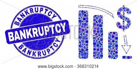 Geometric Bankruptcy Bar Chart Mosaic Icon And Bankruptcy Seal Stamp. Blue Vector Rounded Distress S