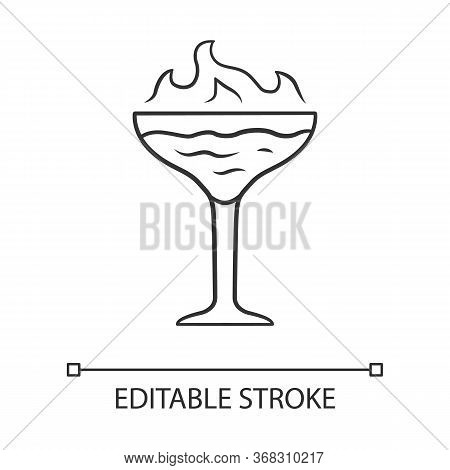 Flaming Cocktail Linear Icon. Martini Glass With Beverage And Burning Fire. Drink With Flammable Alc