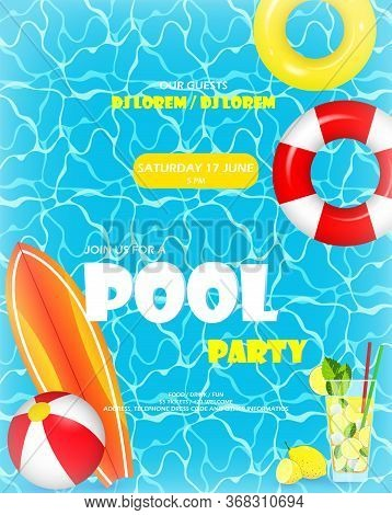 Pool Party. Invitation Template Card. Top View Of Swimming Pool With Pool Floats. Colorful Swimming