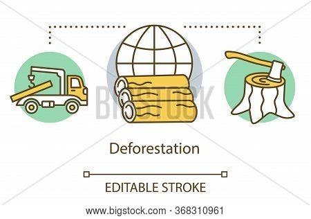 Deforestation Concept Icon. Forestry Logging. Tree Felling. Eco Problem. Lumber-camp. Destruction Of