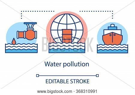 Water Pollution Concept Icon. Ocean Waste Contamination. Pollution Of Sea By Sewage, Ships And Oil.