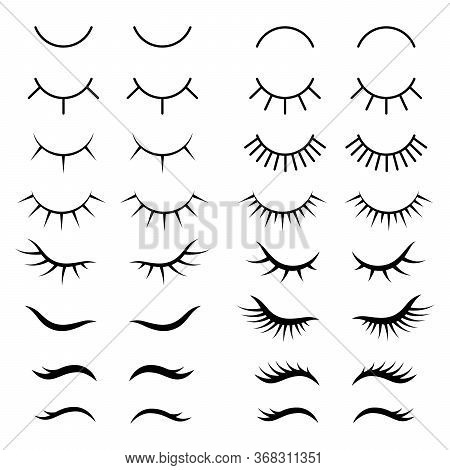 Eyelashes. Pretty Cute Beauty Mascara Face Makeup Closed Eyes Girl. Set Of Cute Cartoon Eyelashes.