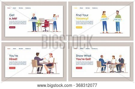 Hr Agency Landing Page Vector Template Set. Job Search Website Interface Idea With Flat Illustration