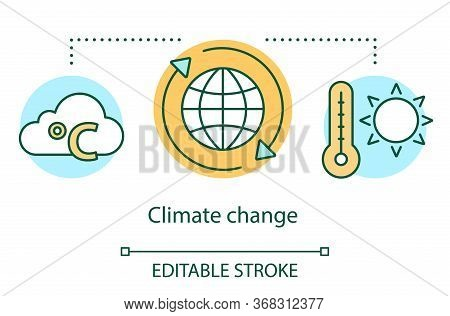 Climate Change Concept Icon. Global Warming. Heating Atmosphere Of Earth. Increase In Average Temper