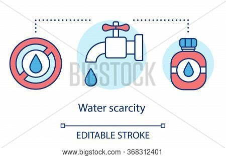 Water Scarcity Concept Icon. Lack Of Fresh Water Sources. Wastewater. Global Eco Problem. Resource D