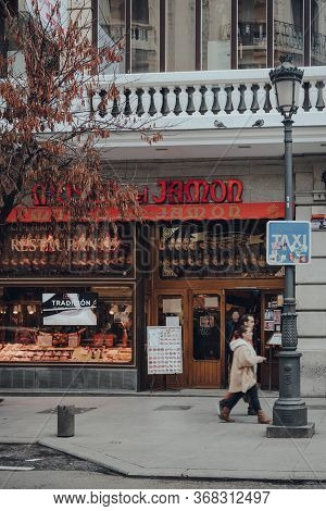 Madrid, Spain - January 26, 2020: Facade Of Museo Del Jamon Restaurant On A Street In Madrid, Capita