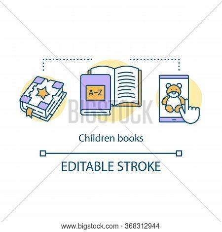 Children Books Concept Icon. Kids Literature Idea Thin Line Illustration. Fairy Tales, Storybooks Wi