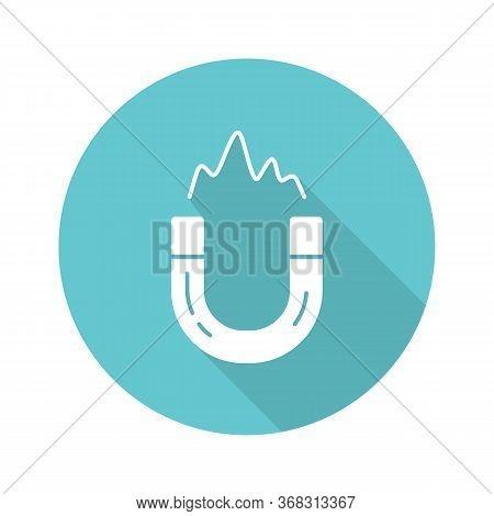 Electromagnetism Turquoise Flat Design Long Shadow Glyph Icon. Electromagnetic Force. Magnetic Field