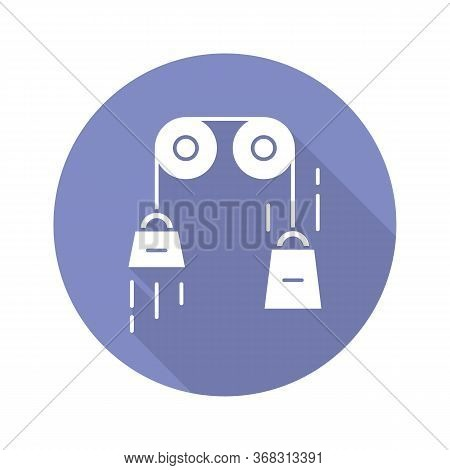 Classical Physics Blue Violet Flat Design Long Shadow Glyph Icon. Laws Of Motion And Gravitation. Me