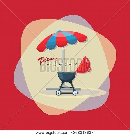 Picnic Time. Barbecue Grill. Picnic At The Park. Bbq Party Invitation With Grill And Food. Barbecue