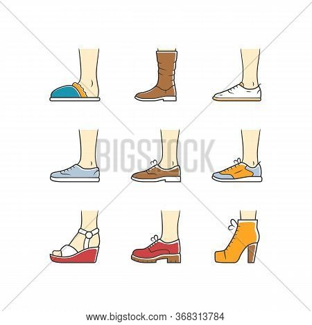 Women And Men Shoes Color Icons Set. Female Summer And Autumn Elegant Footwear. Wedges, Loafers And
