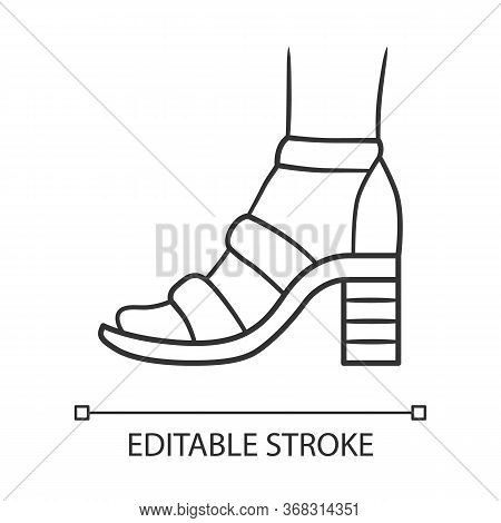 Block High Heels Linear Icon. Woman Stylish Footwear. Female Casual Shoes, Summer Sandals With Ankle