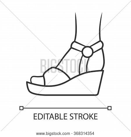 Wedges Linear Icon. Woman Stylish Footwear. Female Casual Shoes, Elegant Sandals With Platform Heel.