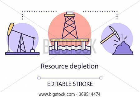 Resource Depletion Concept Icon. Mining For Fossil Fuels And Minerals. Energy Carriers. Oil Rig, Coa