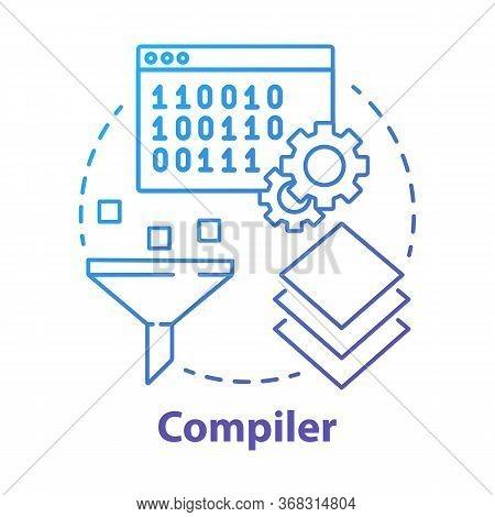 Compiler Concept Icon. Software Development. Machine Language. Programming. Data Filtering. Computer