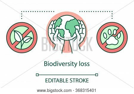 Biodiversity Loss Concept Icon. Species Extinction. Plants And Animals Destruction. Habitat Loss And