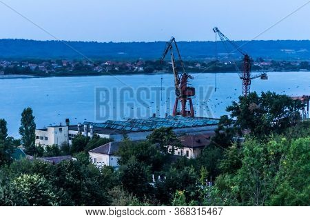 Landscape Of Drobeta Turnu Severin Harbor And On The Other Shore Is Serbian Territory. Mehedinti Cou
