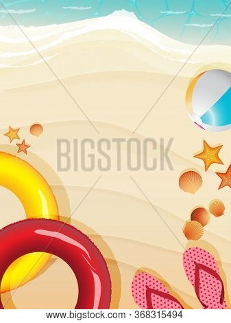 Top View Of Summer Beach Scene Background Decorated With Inflatable Swimming Ring, Beachball, Starfi