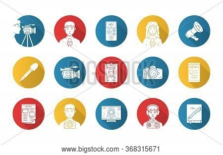 Mass Media Flat Design Long Shadow Glyph Icons Set. Press. Television, Radio. Taking An Interview, P