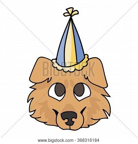 Cute Cartoon Rough Collie Puppy Face With Party Hat Vector Clipart. Pedigree Kennel Sheepdog For Dog