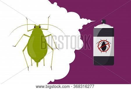 Aphid Repellent Banner Concept. Insect Repellent Aerosol. Pest, Insect And Bug Control Spray Bottle.