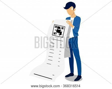 Businessman Holding Bill Isolated On White Background,global Recession Concept,bills Vector,economic
