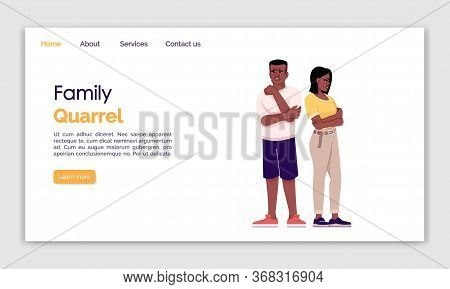 Family Quarrel Landing Page Vector Template. Couple Miff Website Interface Idea With Flat Illustrati