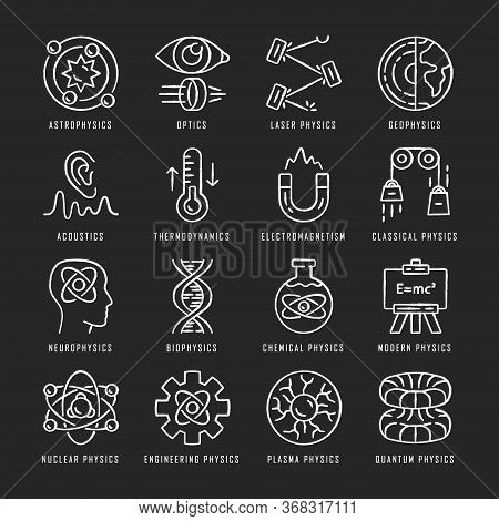 Physics Branches Chalk Icons Set. Physical Processes And Phenomenons. Classical, Modern And Quantum