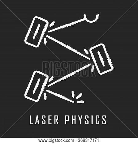 Laser Physics Chalk Icon. Optics Branch. Quantum Electronics, Laser Construction, Optical Cavity. Li