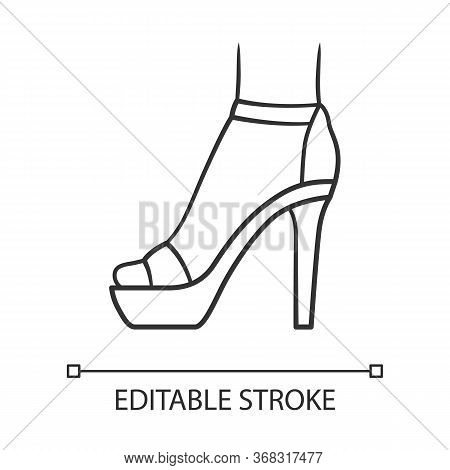 Ankle Strap High Heels Linear Icon. Woman Stylish Footwear Design. Female Party Stiletto Shoes. Edit