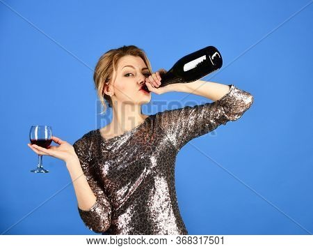 Alco Partying Concept. Lady Holding Glass And Bottle Of Wine