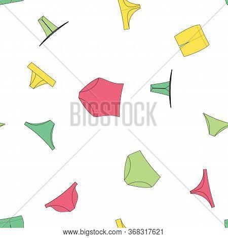 Different Panties For Women. Vector Illustration Seamless Pattern Background. Retro, Slip, Tanga, Th