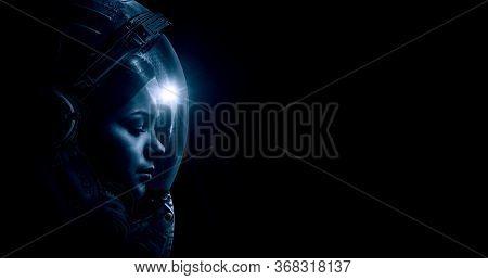 Astronaut at spacewalk . Mixed media