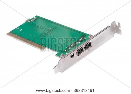 Firewire 1394 PCI controller card isolated on white background