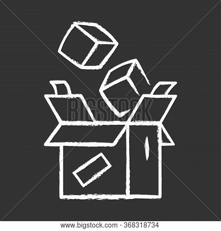Parcel Packing Chalk Icon. Order Packaging And Wrapping. Cardboard Box With Goods. Postal Service. P