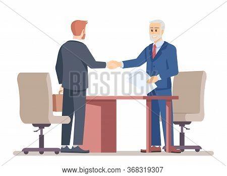 Senior Boss Hiring Employee Flat Vector Illustration. Successful Partner Negotiations. Job Offer. To