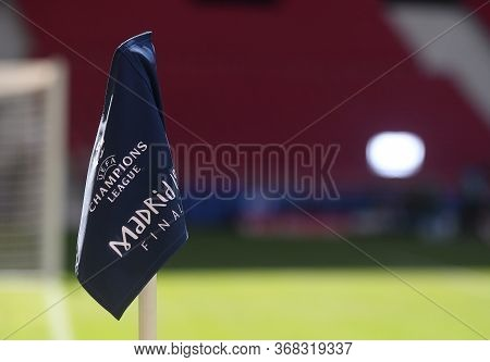 Madrid, Spain - May 31, 2019: A Corner Flag With The Final\'s Branding Pictured One Day Before The 2
