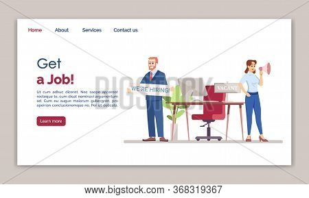 Get A Job Landing Page Vector Template. Hr Agency Website Interface Idea With Flat Illustrations. Em