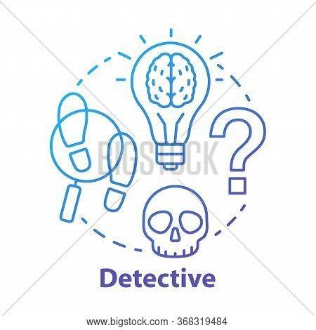 Detective Literature Blue Concept Icon. Crime Fiction Idea Thin Line Illustration. Mystery Criminal