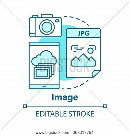 Image Concept Icon. Visual Information Idea Thin Line Illustration. Pictures And Photos. Files Stora
