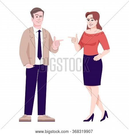 Woman And Man Flirting Flat Vector Illustration. Coworkers Greeting. Colleagues Friendly Conversatio