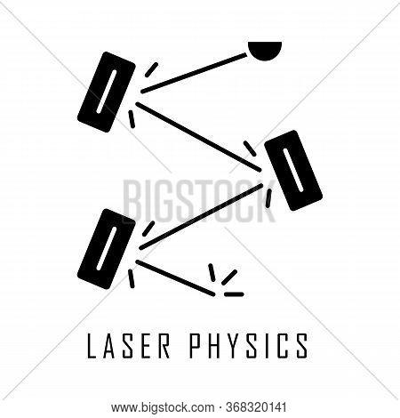 Laser Physics Glyph Icon. Optics Branch. Quantum Electronics, Laser Construction, Optical Cavity. Li