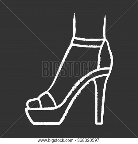 Ankle Strap High Heels Chalk Icon. Woman Stylish Footwear Design. Female Party Stiletto Shoes, Luxur