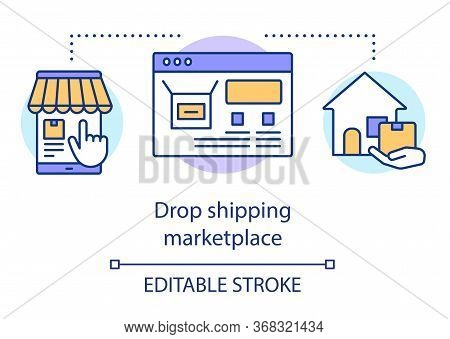 Drop Shipping Marketplace Concept Icon. Dropshipping Process Idea Thin Line Illustration. Online Sho