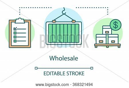 Wholesale Concept Icon. Warehouse Idea Thin Line Illustration. Boxes On Wooden Pallet, Crane With He