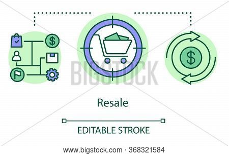 Resale Concept Icon. Purchasing Goods For Selling Idea Thin Line Illustration. Business Model. Tradi