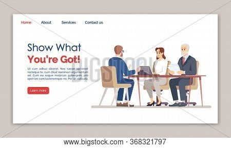 Show What You Are Got Landing Page Vector Template. Employment Service Website Interface Idea With F
