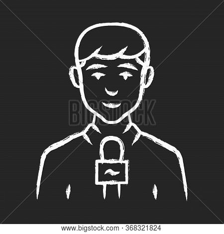 Reporter Man Chalk Icon. Tv Presenter, Interviewer With Microphone. Journalist Taking Interview. New