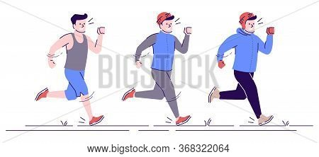 Jogging Caucasian Man Flat Vector Illustration. Sports Training In Any Weather. Jogging Boy In Diffe